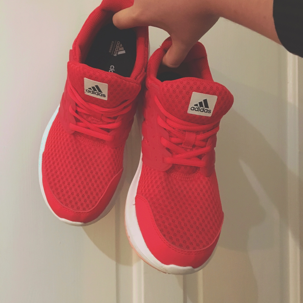 Adidas ladies cloudfoam Ortholite red trainers. Size...