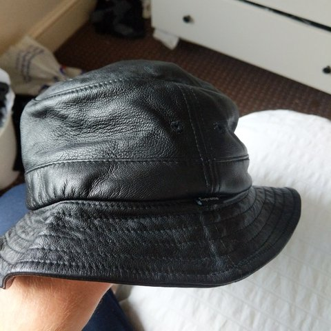 97d8782567f372 @jamesswain. 6 months ago. London, GB. Supreme black leather bucket hat