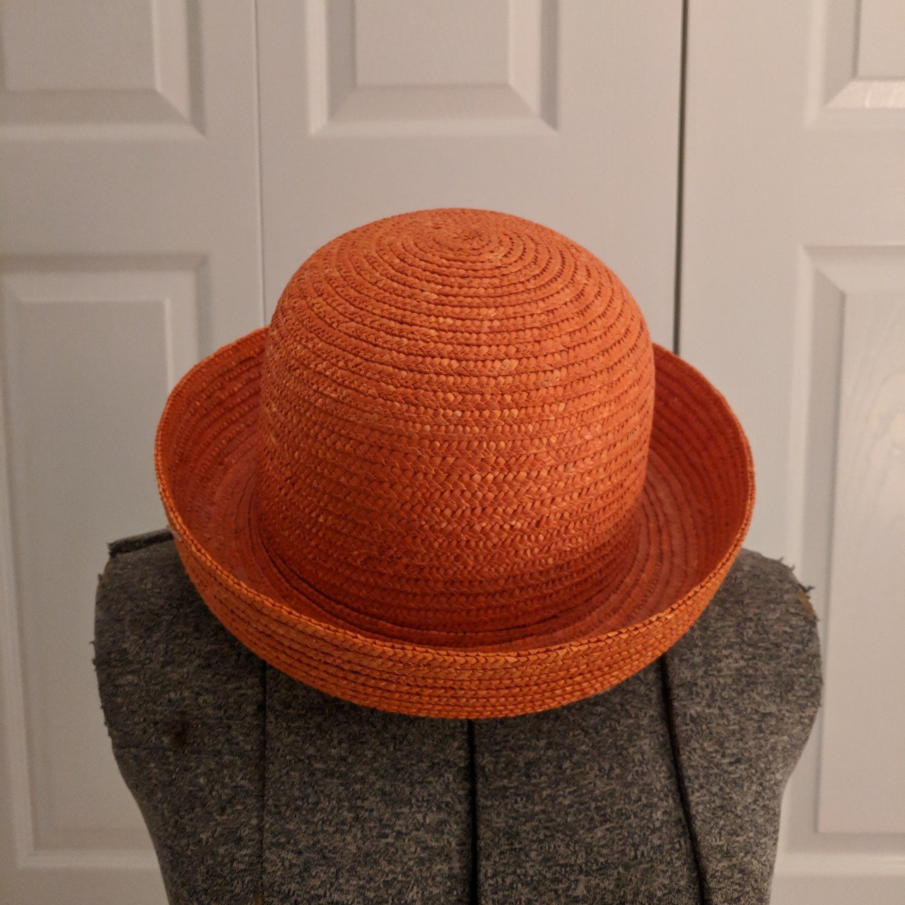 Summer Beach Orange Straw Bowler Hat The absolute perfect   - Depop a3fd7741fa9