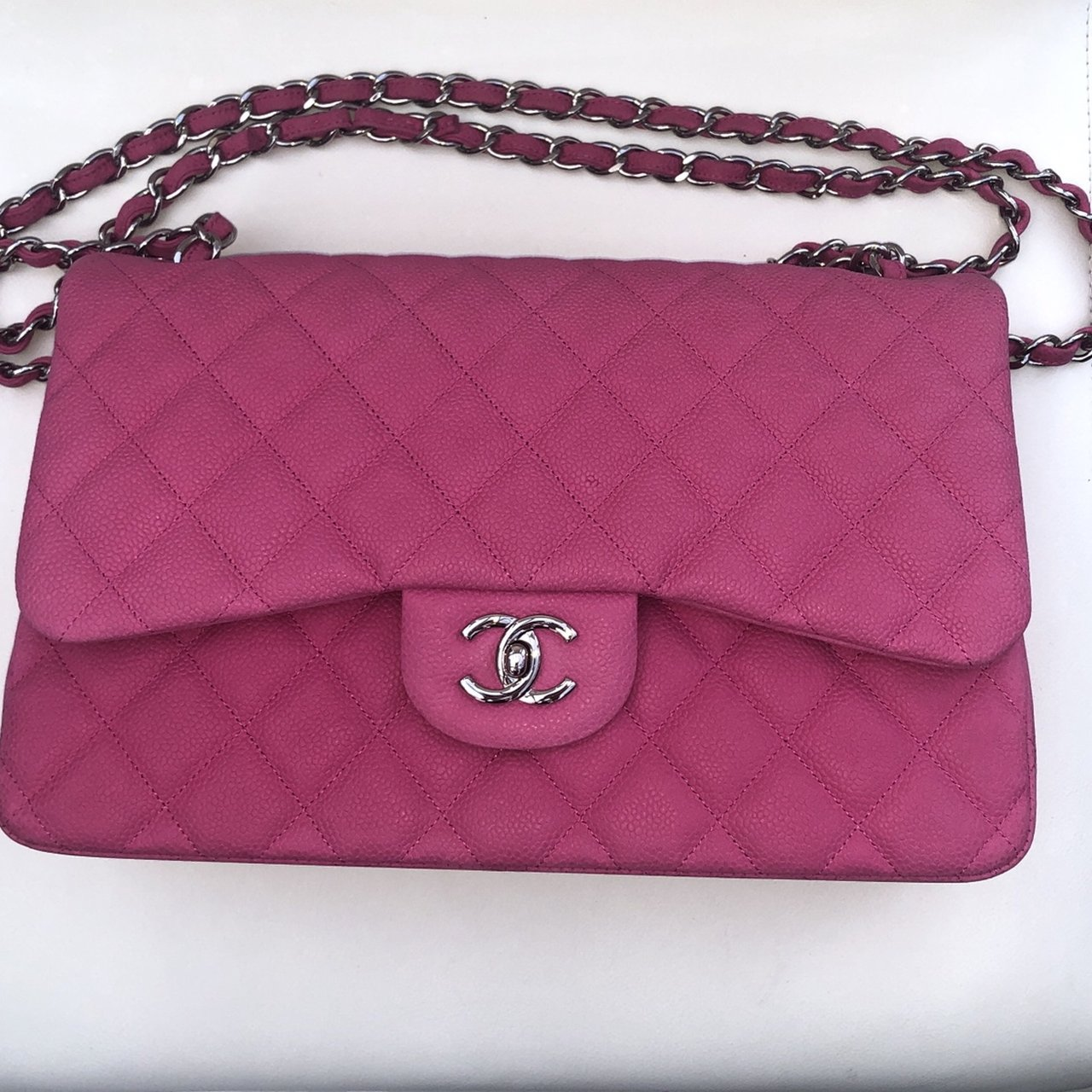 d2bdd6f40f Exceptional pink Chanel bag, in the suede caviar material, I - Depop