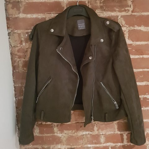1c52b599d80c Green Suedette Biker Jacket Size 14 I am a size 10 and wear - Depop