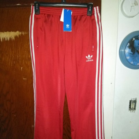 47ccecfd5dd5 Brand New Adidas Track Pants Red kids size XL would fit to - Depop