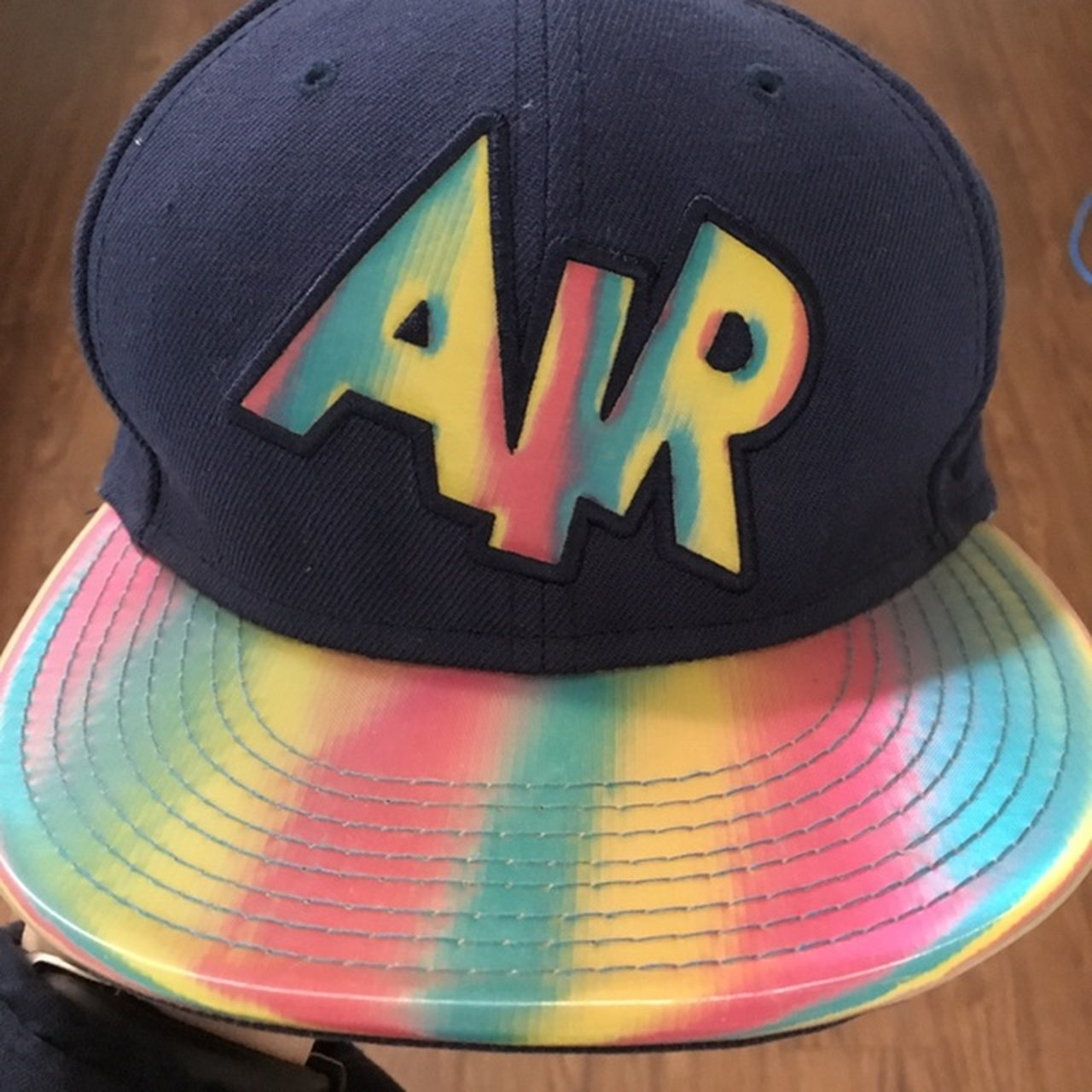 Nike Air Rainbow Snapback Hat Navy Reflective Message for - Depop 6935d50a9e8