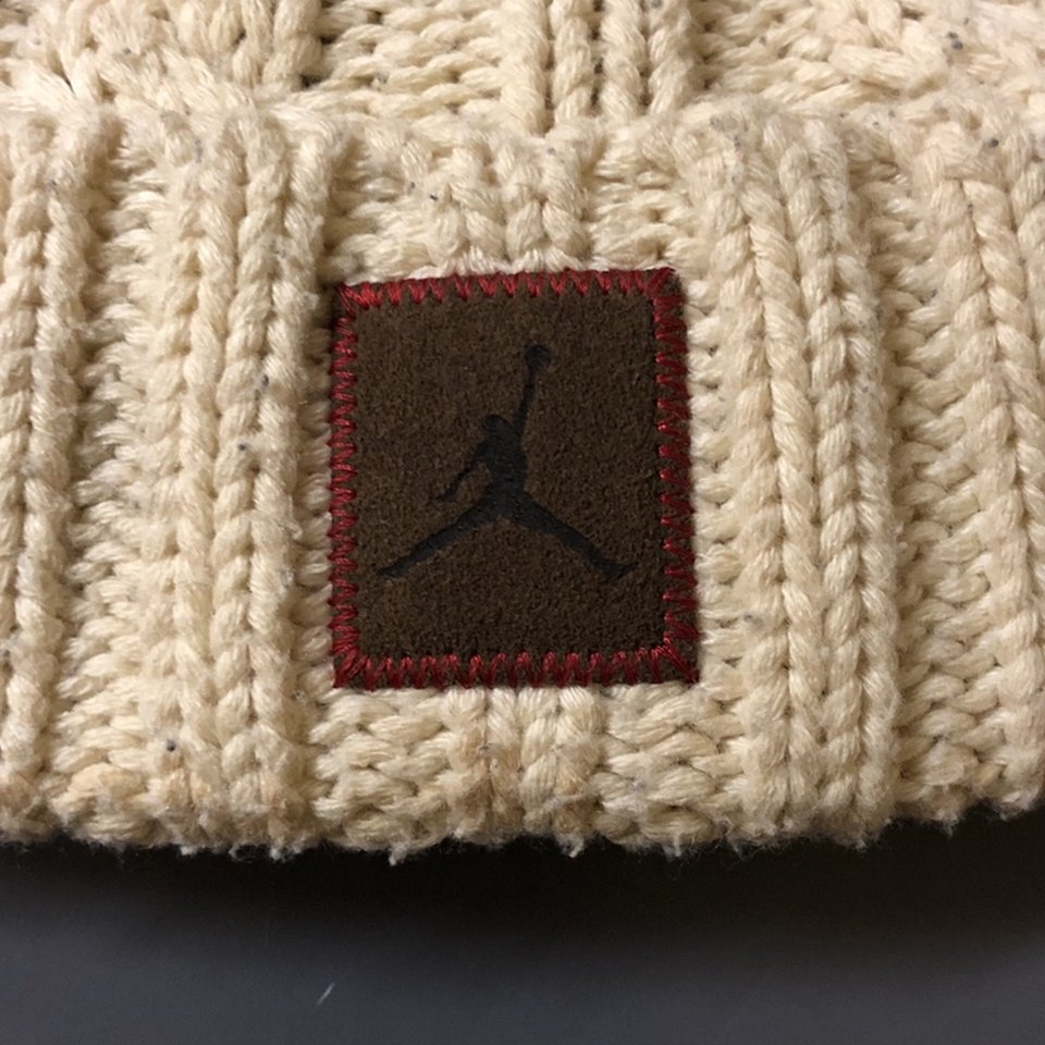 Jordan Cable Knit Hat Cream color OS Preowned Depop