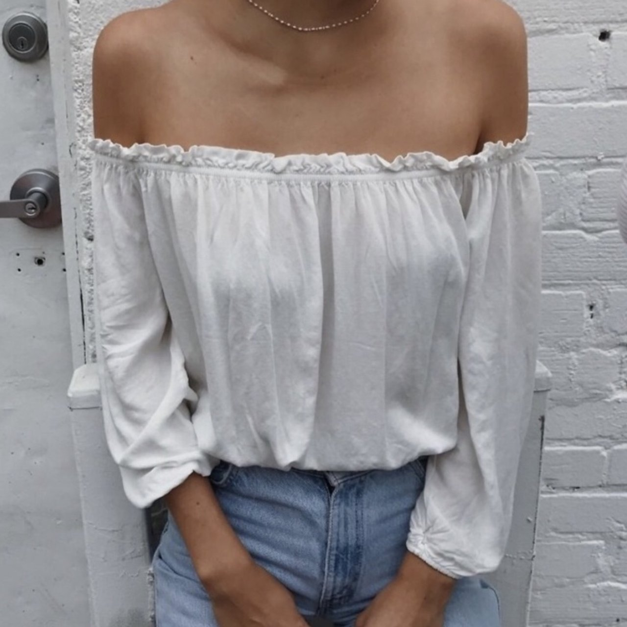 d0b82c968f6895 Brandy Melville White Maura Top. Only worn once