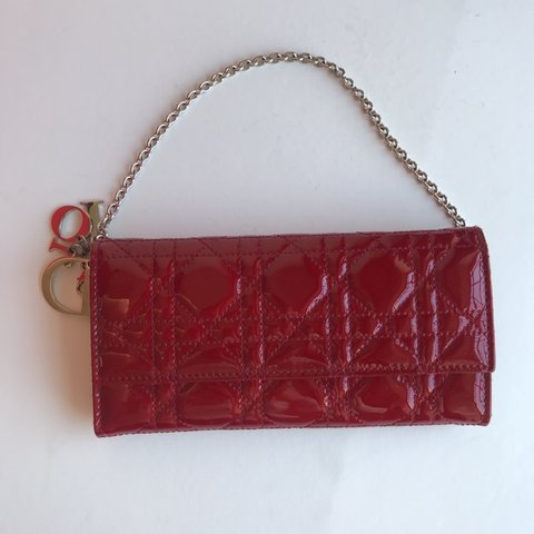 Lady Dior calfskin wallet in red patent leather 485496ea32042