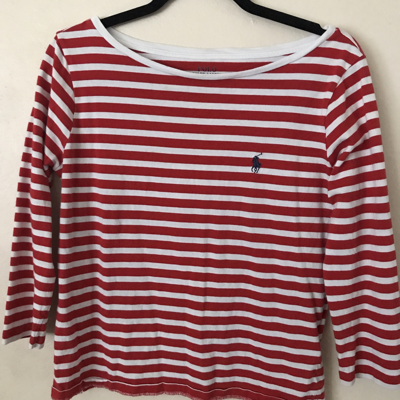 Women S Small Red And White Striped Long Sleeve Polo Depop