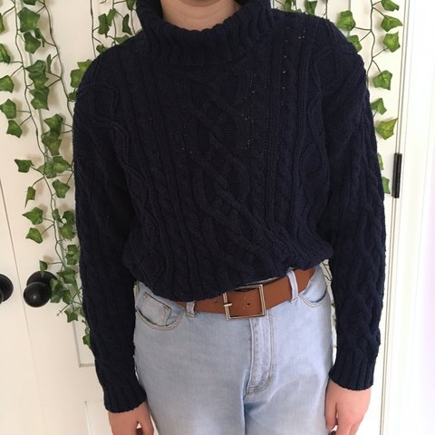 3ab77bfe4f navy cable knit turtleneck sweater this is SUCH a cute it s - Depop