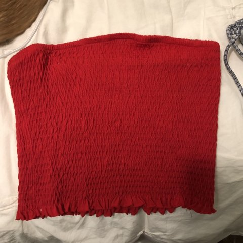 2e3ec2030624a red tube top from garage never worn before