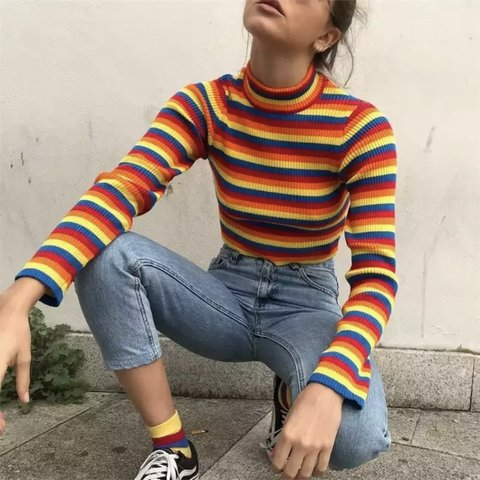 a7c0d17ea4f @paradigmspec. 4 months ago. Los Angeles, United States. Knitted Rainbow  Turtleneck Crop Top Sweater🌈 Measurements: Chest Width 72 ...