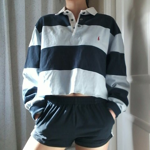 67eb2e50cce800 VINTAGE POLO RALPH LAUREN Striped Long Sleeve Cropped Top of - Depop