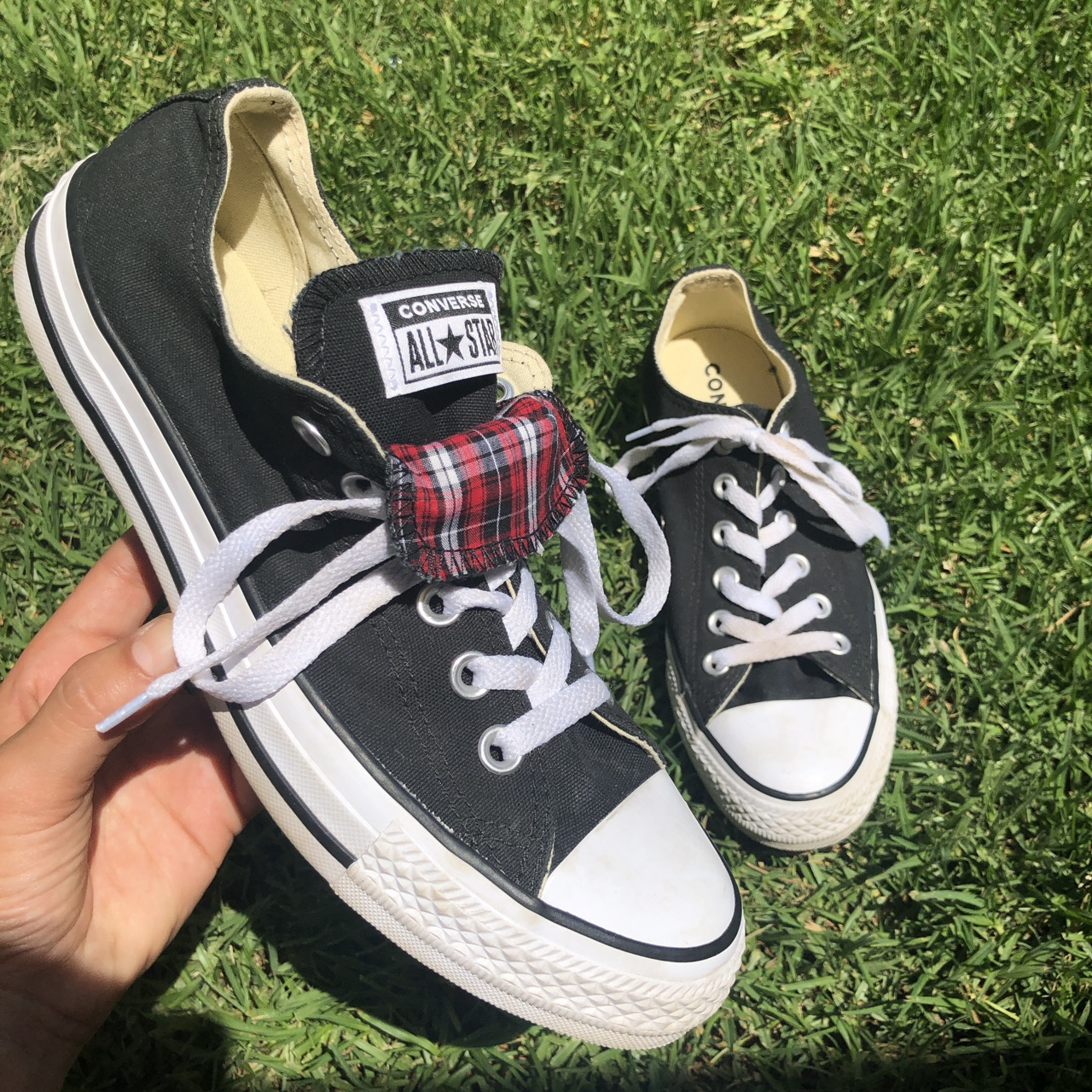 Black low top converse Red plaid fold over tongue Depop