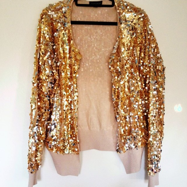 Gold sequin #Topshop bomber jacket/cardigan, size 10. Worn maybe ...
