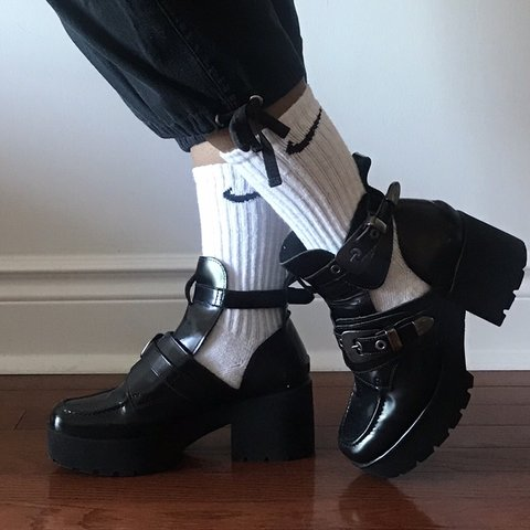 a8e804b61ab the most ADORABLE black leather CUTOUT PLATFORMS FROM w some - Depop