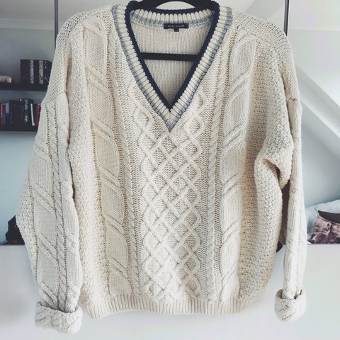 cf569253e59 Cream cable knit oversized jumper from River Island with and - Depop