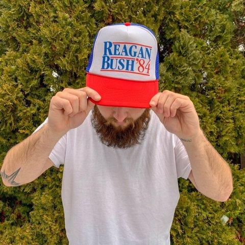 b2b8f47fcd123 Vintage Reagan Bush  84 Political Ball Cap  political  ball - Depop