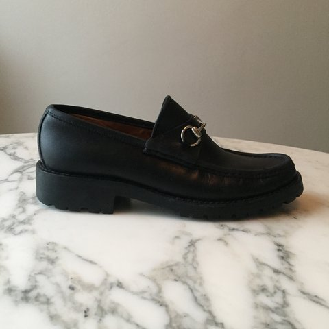 0416d5a2d @shoes_jpg. 3 years ago. New York, NY, USA. Women's Gucci horsebit loafers  🐎 Black leather, silver horsebit, lug sole. Made in Italy.