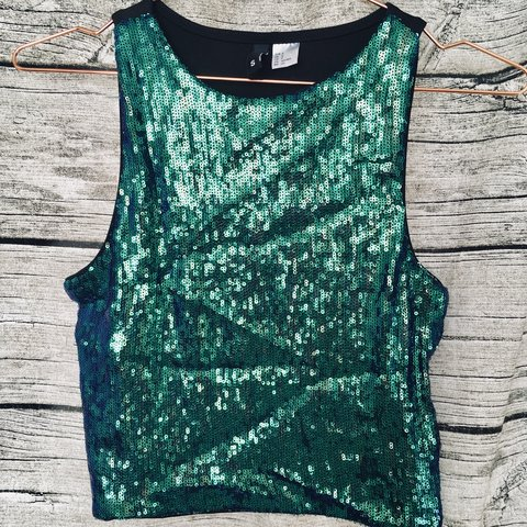 9e8633eb6a1e8 H M sparkly cropped turquoise mermaid top