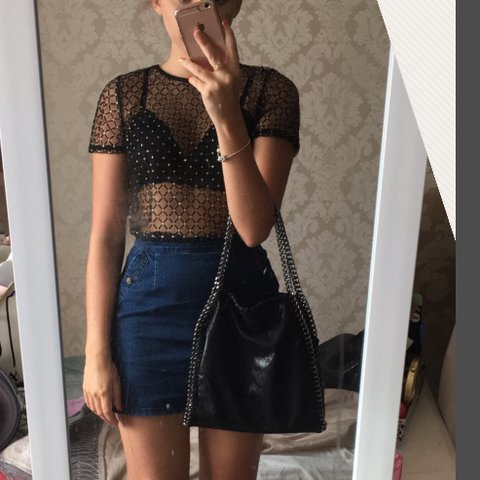 a56740fc Pretty little thing black and gold mesh sheer t shirt / only - Depop