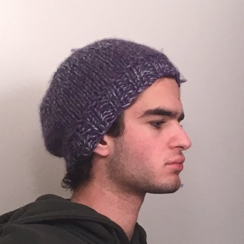 cb13d88327c4ee @rageorge. 5 months ago. New York, United States. •NEW• UNISEX PURPLE/BLUE  HAND-KNIT BEANIE HAT ONE SIZE FITS ALL