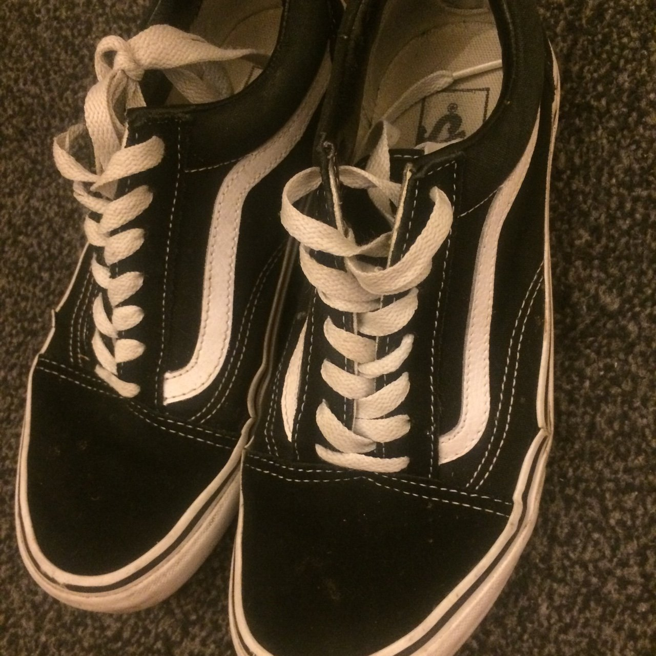 dd11289ed905a5 £15 plus free delivery ❤ Black and white vans size 5. Worn - Depop
