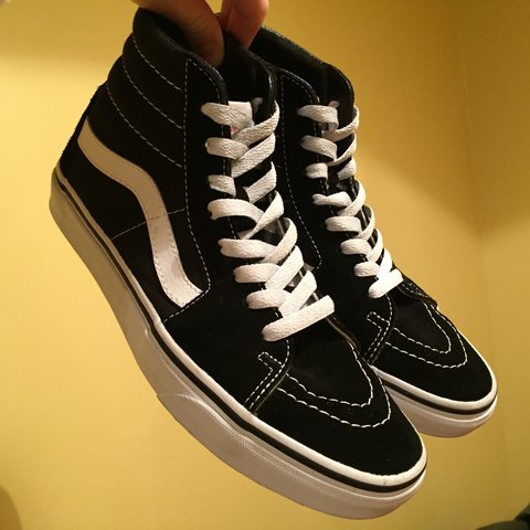 78bb06a325 VANS SK8-HI BLACK AND WHITE. Nearly new. Worn 3 4 times but - Depop