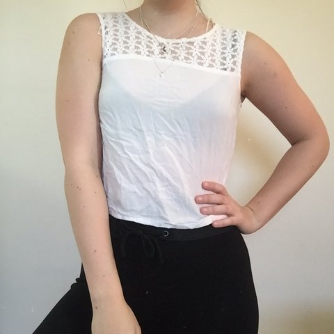 f9ad58b14f337 H&M white top with lace flower detailing at the neck. Great - Depop