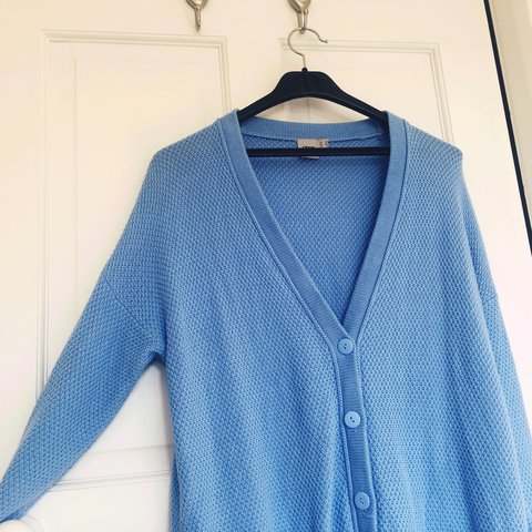 dbc8ec81a7ea ASOS Blue Cotton Knit Cardigan with two real pockets. 100% - Depop