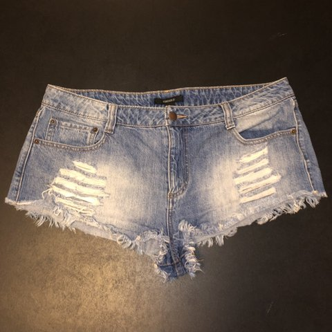 a9ffd8b06a Forever 21 super short cutoff shorts size 31  teal  black - Depop