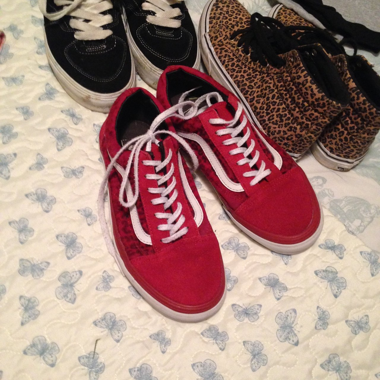 Size 5 red leopard print old skool vans good condition just - Depop 29a880e86