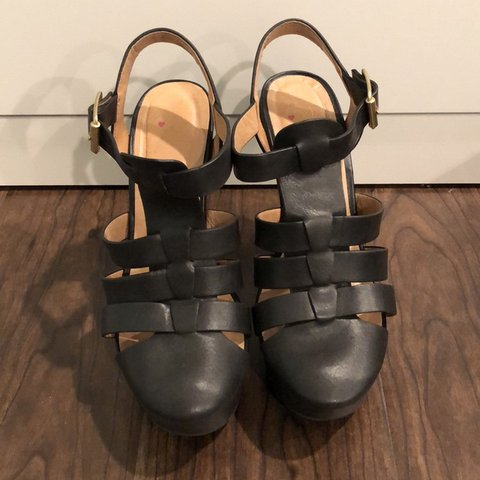 d5ff9858dee Black caged closed-toe wedges. About a 5 1 2 inch platform. - Depop