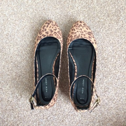ac193a390 NEW LOOK leopard print ankle strap ballet pump. Size UK 6/ - Depop