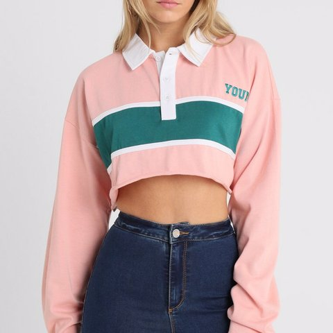 ededa5eb5eb8f Missguided cropped rugby top shirt. Size 6 brand new with - Depop
