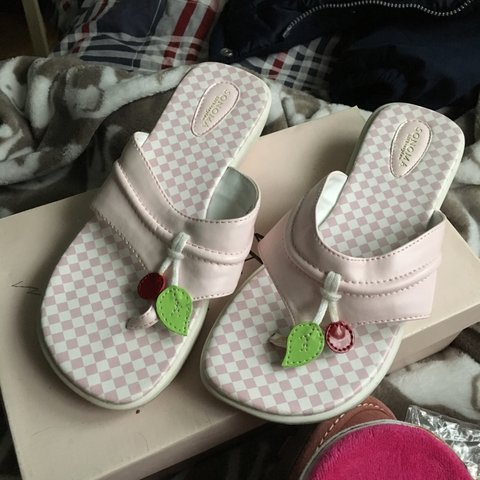 0b557fd17 Kids checkered flip flops with cherry dangles See picture 3 - Depop