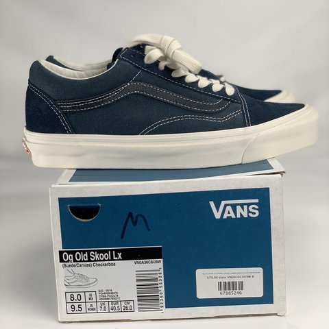 b56719a022 Vans Ol Skool LX Canvas and Suede Navy Blue Size 8. A size 8 - Depop