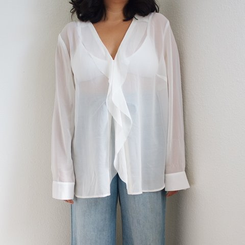 b28bed85d @audgemarie. 8 days ago. Honolulu, United States. Ruffle Button Down Blouse