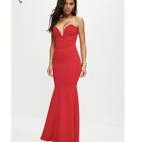Stunning red plunge maxi dress- misguided- brand new with uk - Depop 47f40481e