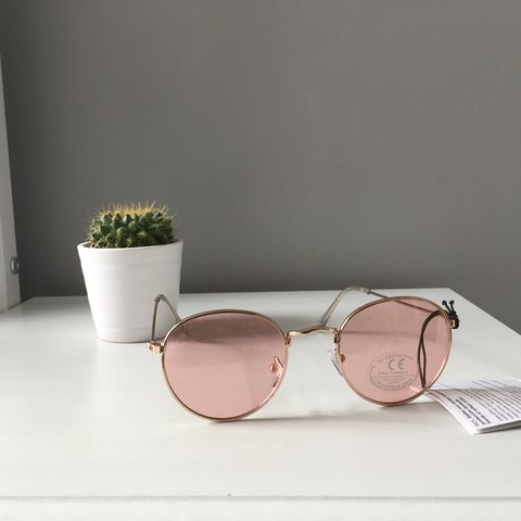04a17468b84 ASOS pink tinted sunglasses with gold rims. Brand New never - Depop