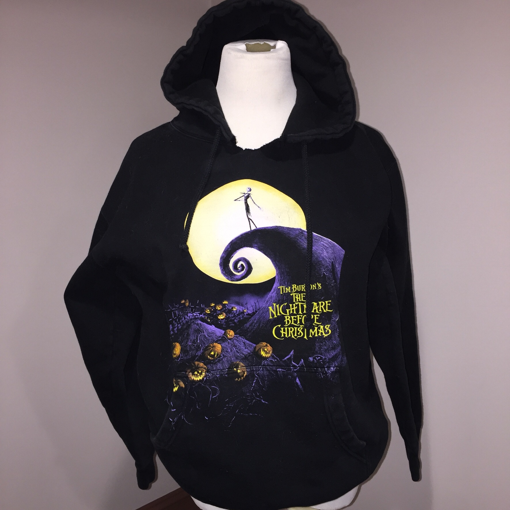 Hot Topic Nightmare Before Christmas Sweater.Black Nightmare Before Christmas Hoodie With Jack Depop