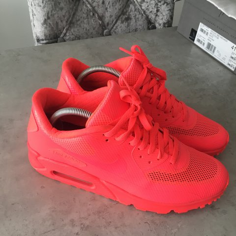 66473a7e130 Nike ID Air Max premium hyperfuse solar red trainers uk size - Depop