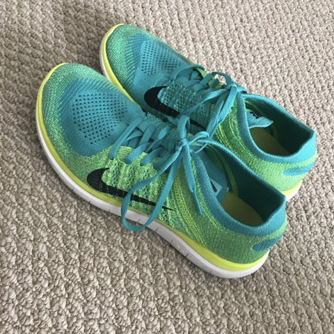 fb41284733602 Nike Free 4.0 Flyknit running shoes. Blue   turquoise       - Depop