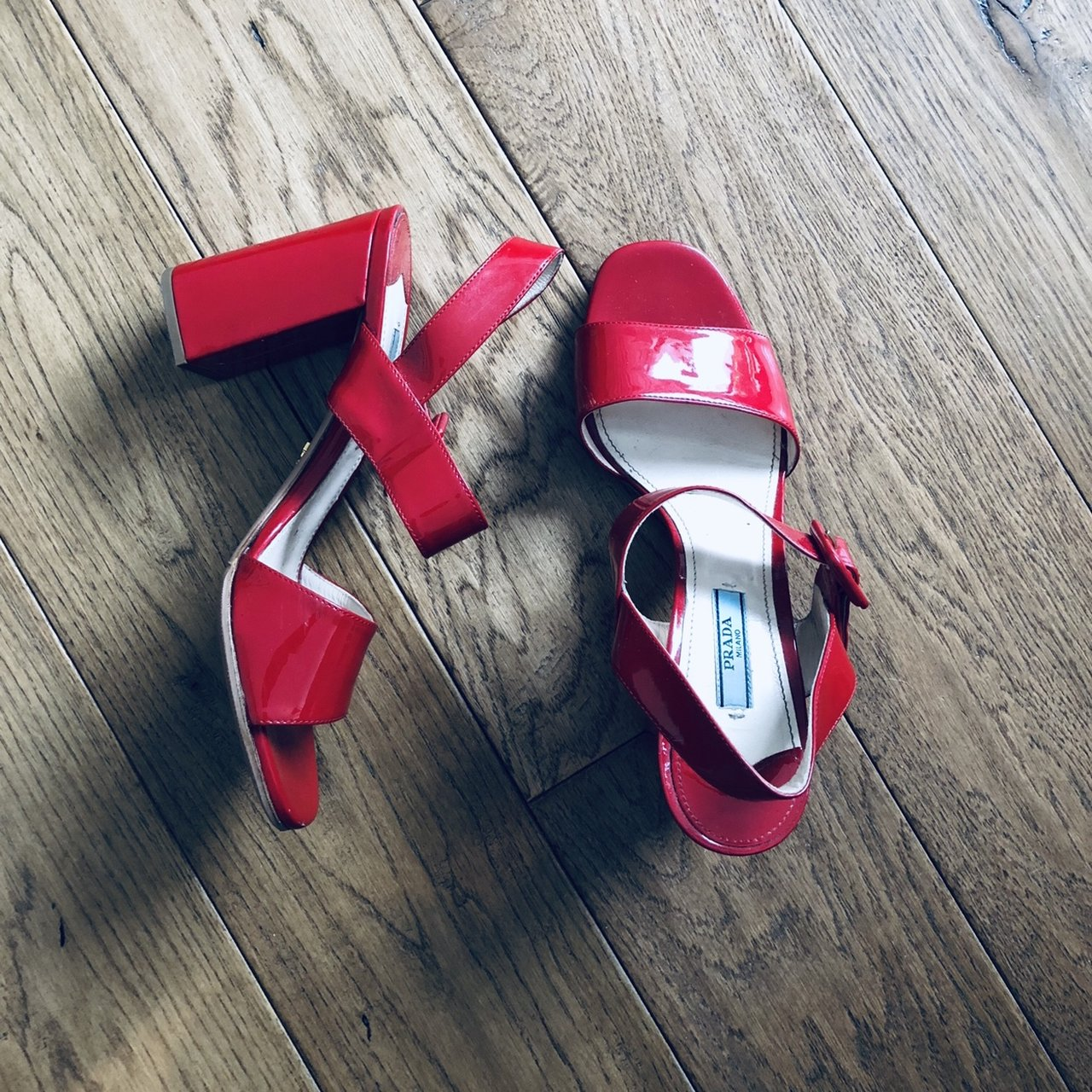 1fd863a8b5 @ksue1117. 5 months ago. New York, United States. Prada Classic red patent  leather heels / sandals.