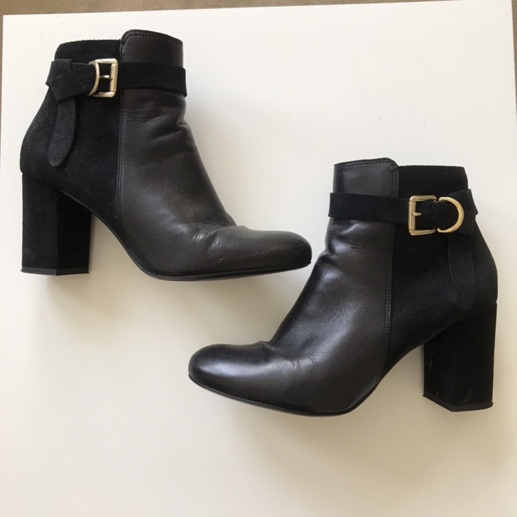 Oasis black ankle boots with gold