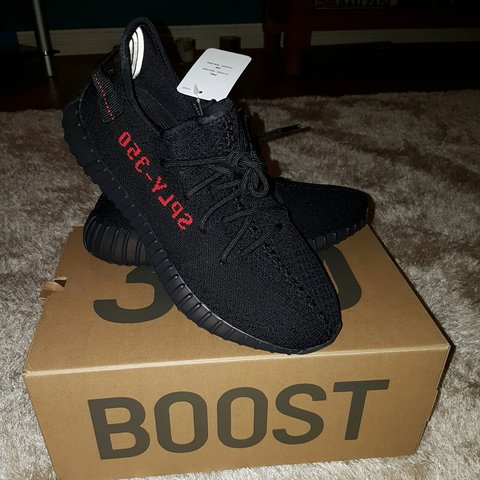 32519c99c12dc Brand new authentic yeezy boost 350 v2 pirate black red worn - Depop