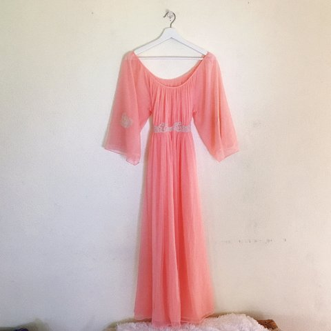 7276b9f0a7d 1960s VINTAGE chiffon nightgown lounge gown💋 ✨RoVel of is - Depop