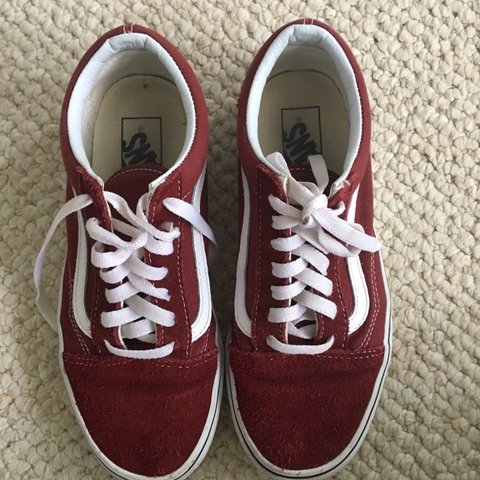 b739cf1c5b maroon low top suede vans white laces lightly used sized - Depop