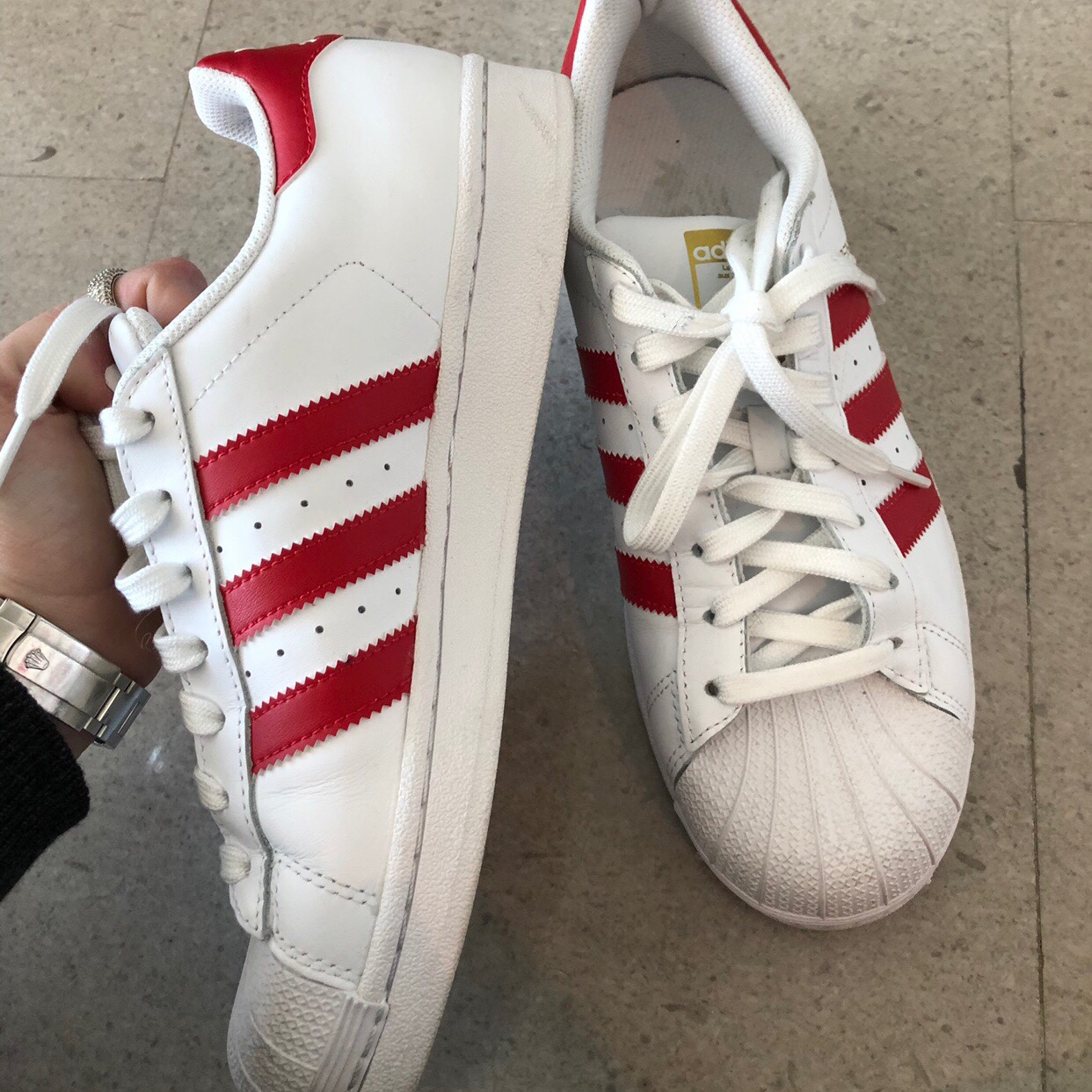 Adidas superstar sneaker in red and white Rare    - Depop