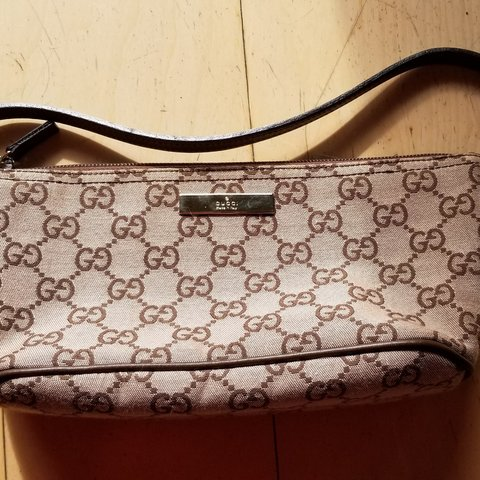 7f2e66c319f8 @zeromancer. last month. San Diego, California, US. Vintage Gucci Pochette  Mini Shoulder Brown Gg Monogram Canvas and Leather ...