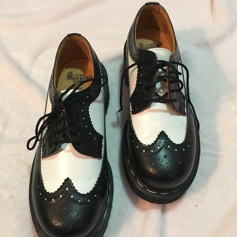 712b3f44e3b9 Dr martens( doc martens) black and white saddle shoe style - Depop