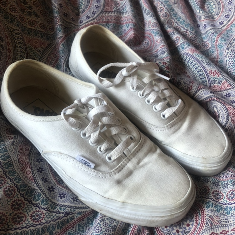 White Classic Lace Up Vans Size 6 by Depop